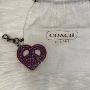 Coach Heart Peace Sign Keychain